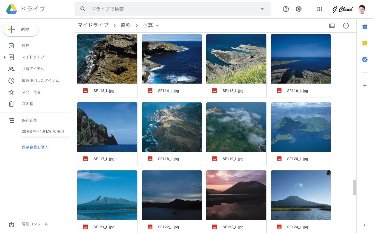 Google ドライブ プレビュー 写真