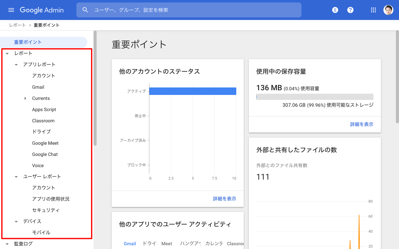 Google Workspace レポートを表示